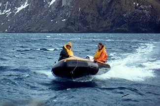 Inflatable boat in Antarctica