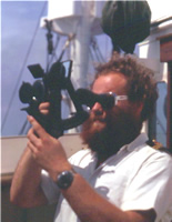 David Bray with sextant