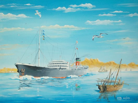 Painting of a British Merchant ship