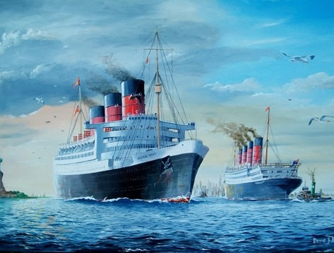 Transatlantic geyhounds the 'queen mary' and the 'aquitania