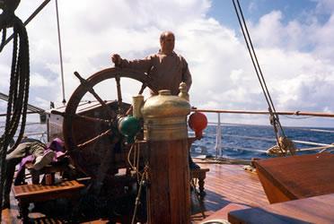 "David Bray on Norwegian square- rigged training ship ""Sørlandet"""