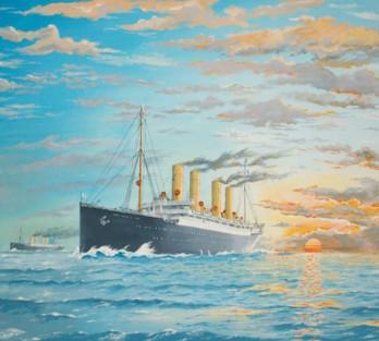 """The German liner """"Kaiser Wilhelm der Grosse"""" and the Blue-Riband holder """"Deutschland"""" in 1900"""