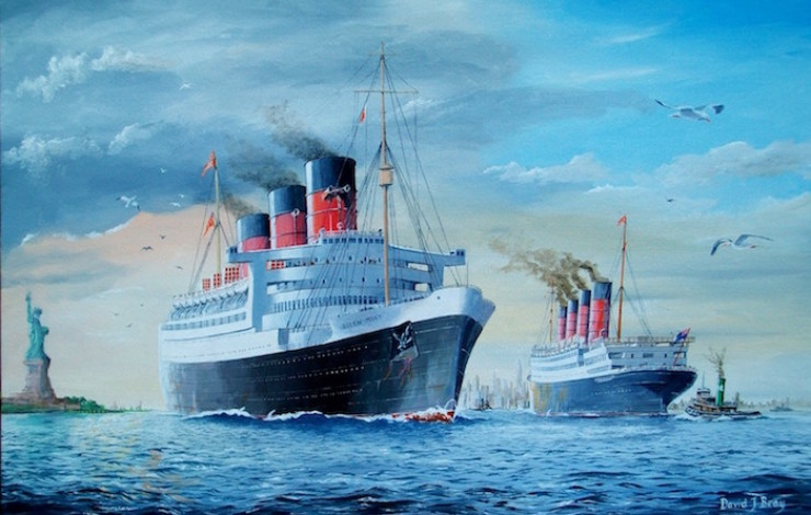 The 'Queen Mary' & the 'Aquitania' at New York