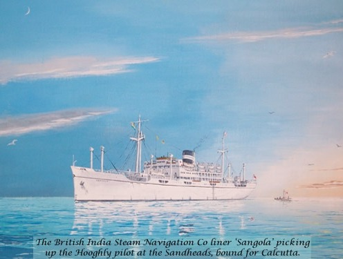 'Sangola' picking up the Hooghly pilot at the Sandheads, bound for Calcutta