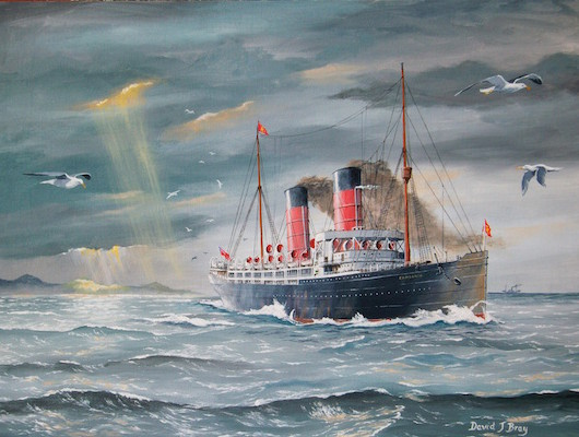 "Cunard Blue Riband liner ""Campania"" painting"