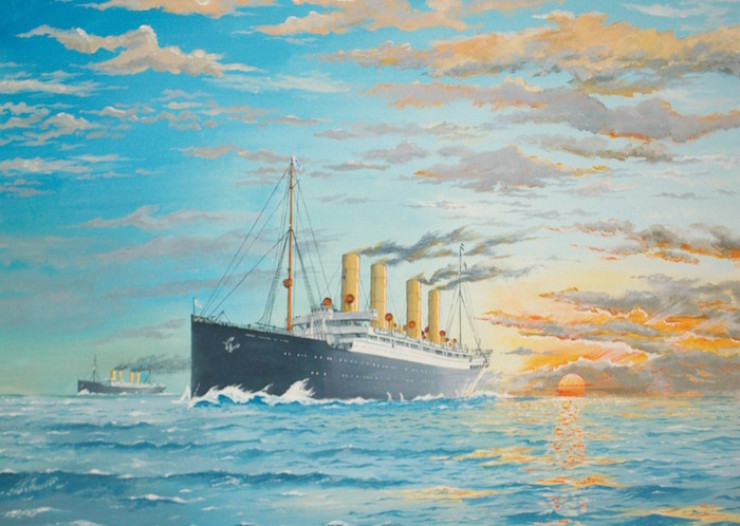 "The German liner ""Kaiser Wilhelm der Grosse"" and the Blue-Riband holder ""Deutschland"" in 1900"