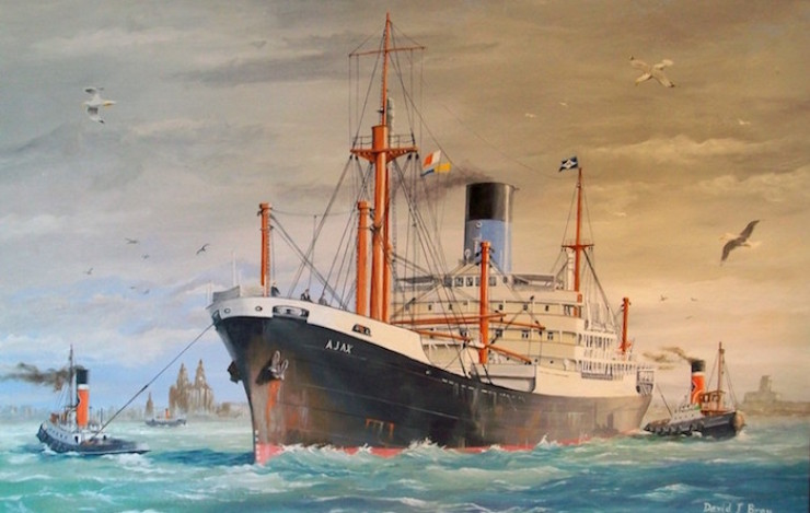 Blue Funnel Line's Ajax on the Mersey