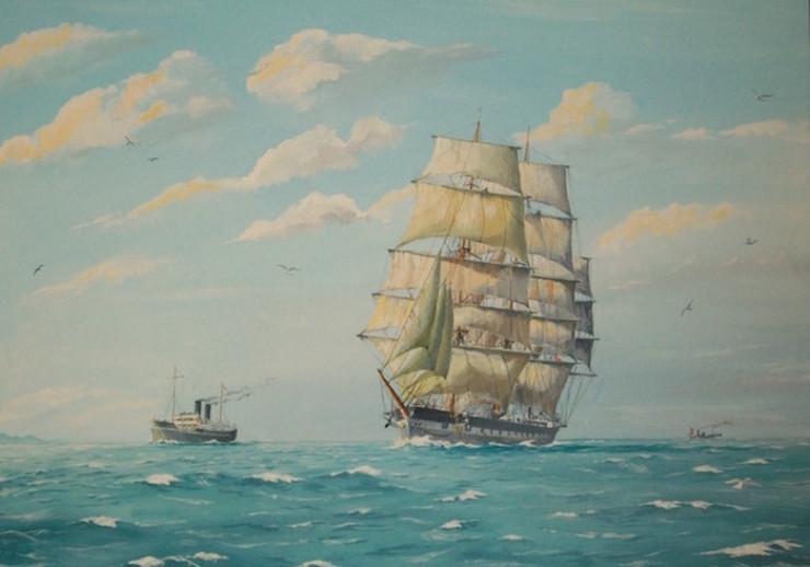Fullrigger 'Wavertree' and P&O liner 'Mooltan'