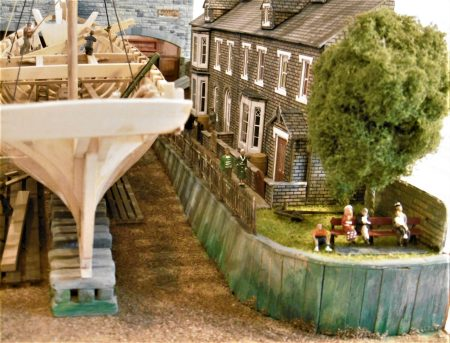 Dandy Score Shipyard model - Yard hands' cottages. People enjoying the view