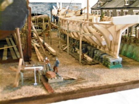Dandy Score Shipyard model - Scaffolding and ramp on schooner