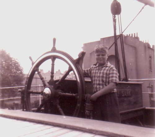 On the Cutty Sark, aged 8